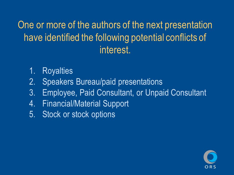 Sample disclosure slide for presenters presentation title one or more of the authors of the next presentation have identified the following potential conflicts maxwellsz