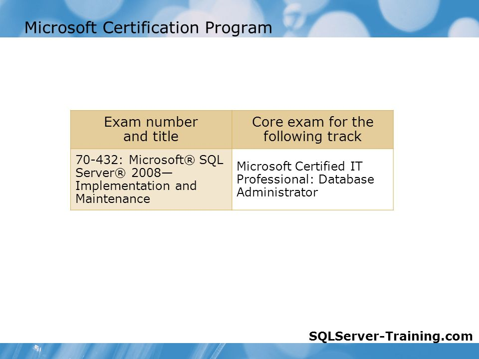 Microsoft Certification Program Exam number and title Core exam for the following track : Microsoft® SQL Server® 2008— Implementation and Maintenance Microsoft Certified IT Professional: Database Administrator SQLServer-Training.com