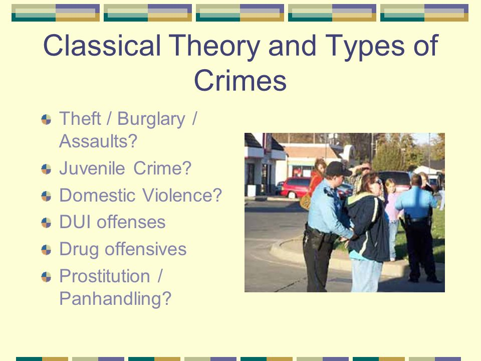 Classical Theory and Types of Crimes Theft / Burglary / Assaults.