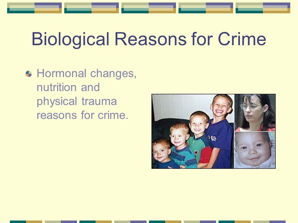 Biological Reasons for Crime Hormonal changes, nutrition and physical trauma reasons for crime.