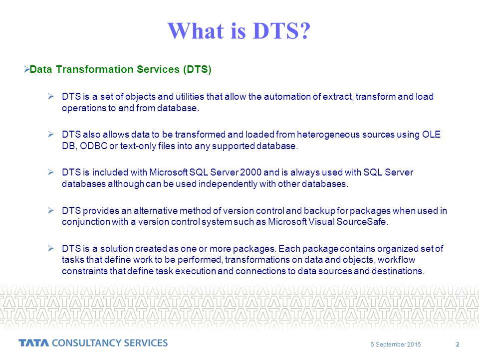 5 September What is DTS.