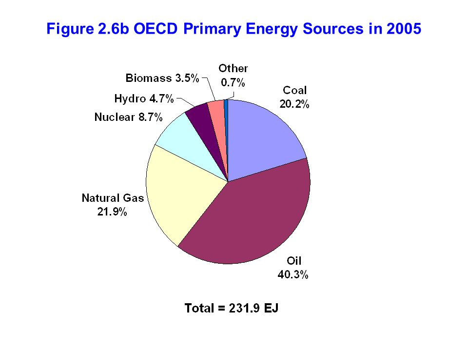 Figure 2.6b OECD Primary Energy Sources in 2005