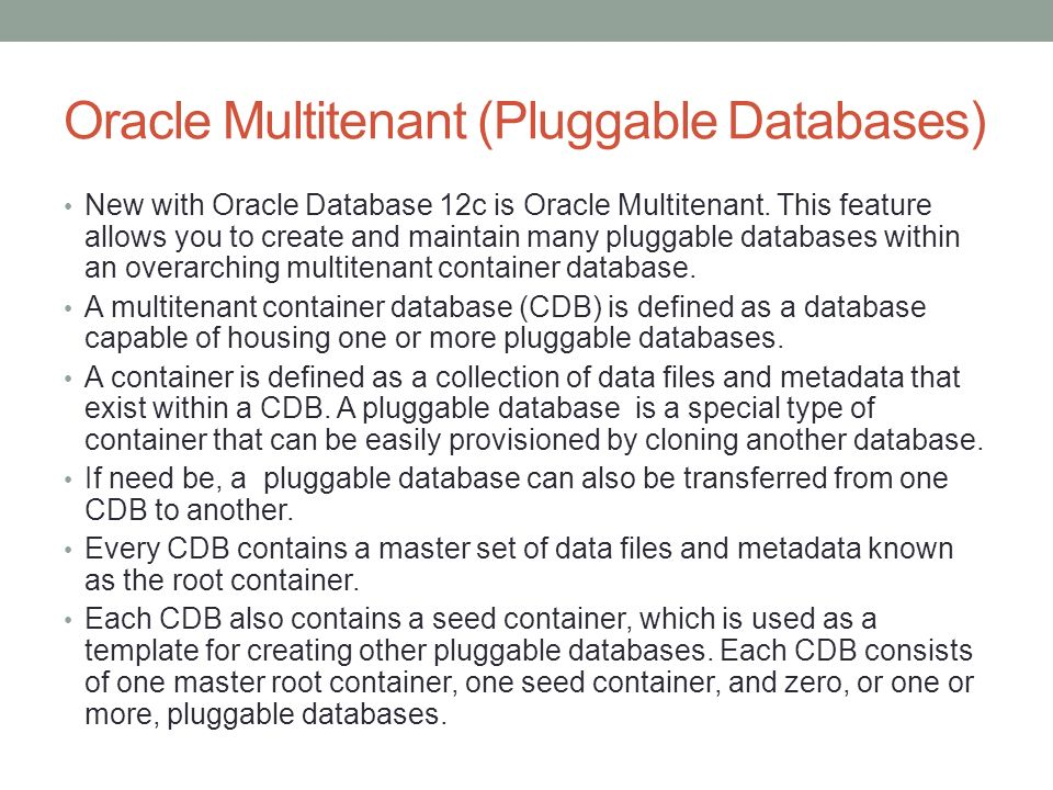 CHAPTER 23 Pluggable Databases  Oracle Multitenant