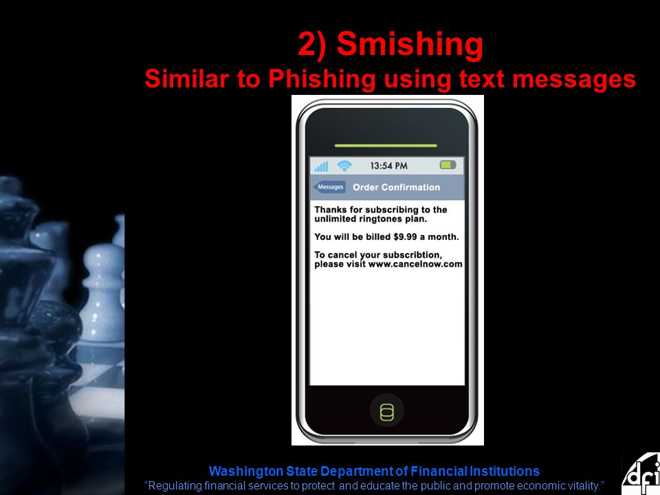 Washington State Department of Financial Institutions Regulating financial services to protect and educate the public and promote economic vitality. 2) Smishing Similar to Phishing using text messages