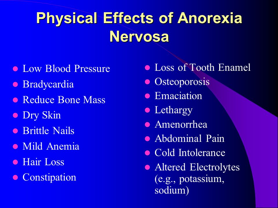 4 Physical Effects Of Anorexia Nervosa Low Blood Pressure Bradycardia Reduce Bone Mass Dry Skin Brittle Nails