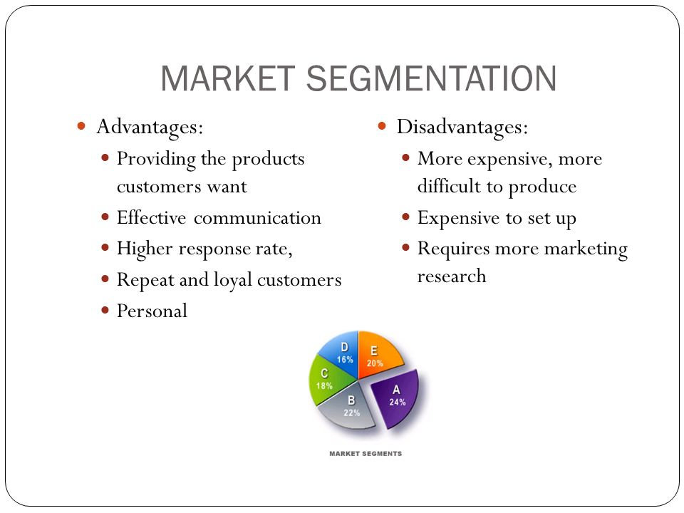 MARKET SEGMENTATION Advantages: Providing the products customers want Effective communication Higher response rate, Repeat and loyal customers Personal Disadvantages: More expensive, more difficult to produce Expensive to set up Requires more marketing research