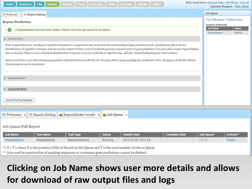 Clicking on Job Name shows user more details and allows for download of raw output files and logs
