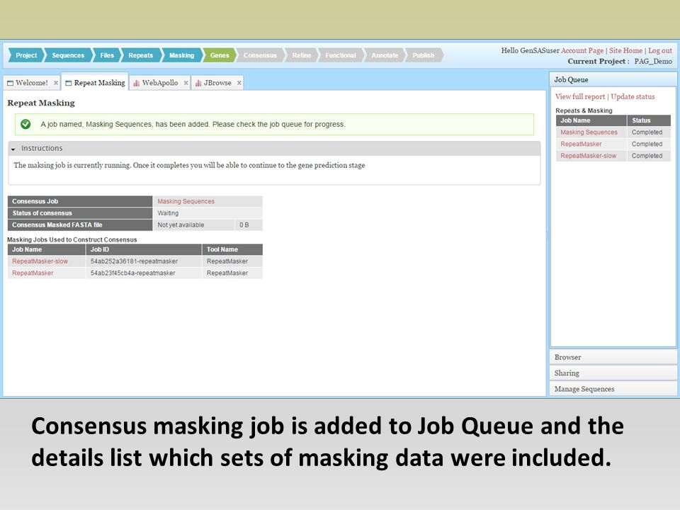 Consensus masking job is added to Job Queue and the details list which sets of masking data were included.