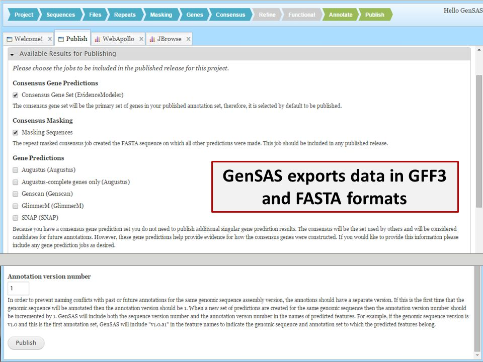 GenSAS exports data in GFF3 and FASTA formats