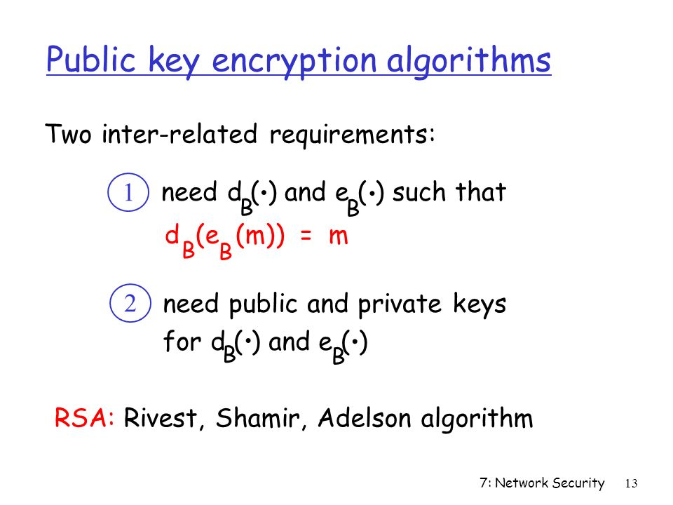 7: Network Security13 Public key encryption algorithms need d ( ) and e ( ) such that d (e (m)) = m B B B B..