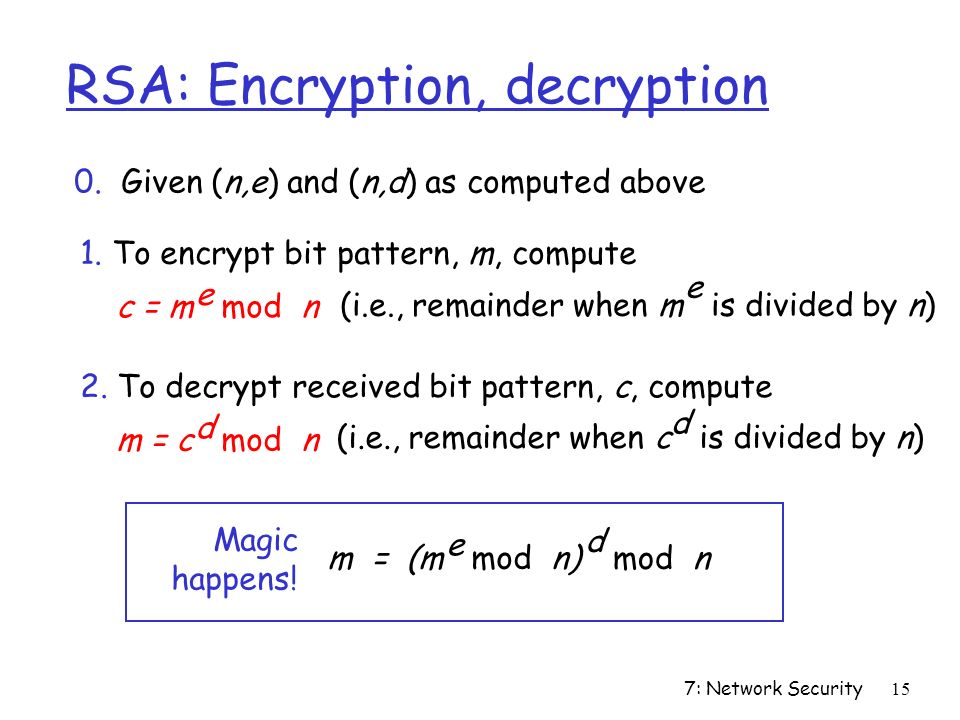 7: Network Security15 RSA: Encryption, decryption 0.