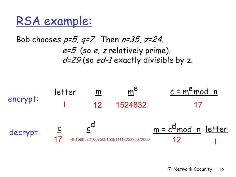 7: Network Security16 RSA example: Bob chooses p=5, q=7.