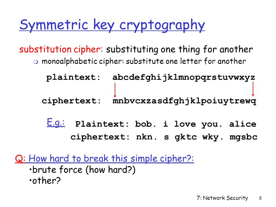 7: Network Security8 Symmetric key cryptography substitution cipher: substituting one thing for another m monoalphabetic cipher: substitute one letter for another plaintext: abcdefghijklmnopqrstuvwxyz ciphertext: mnbvcxzasdfghjklpoiuytrewq Plaintext: bob.