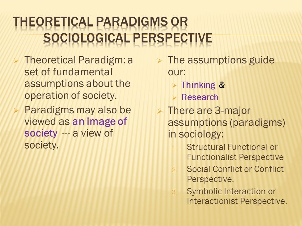  Theoretical Paradigm: a set of fundamental assumptions about the operation of society.