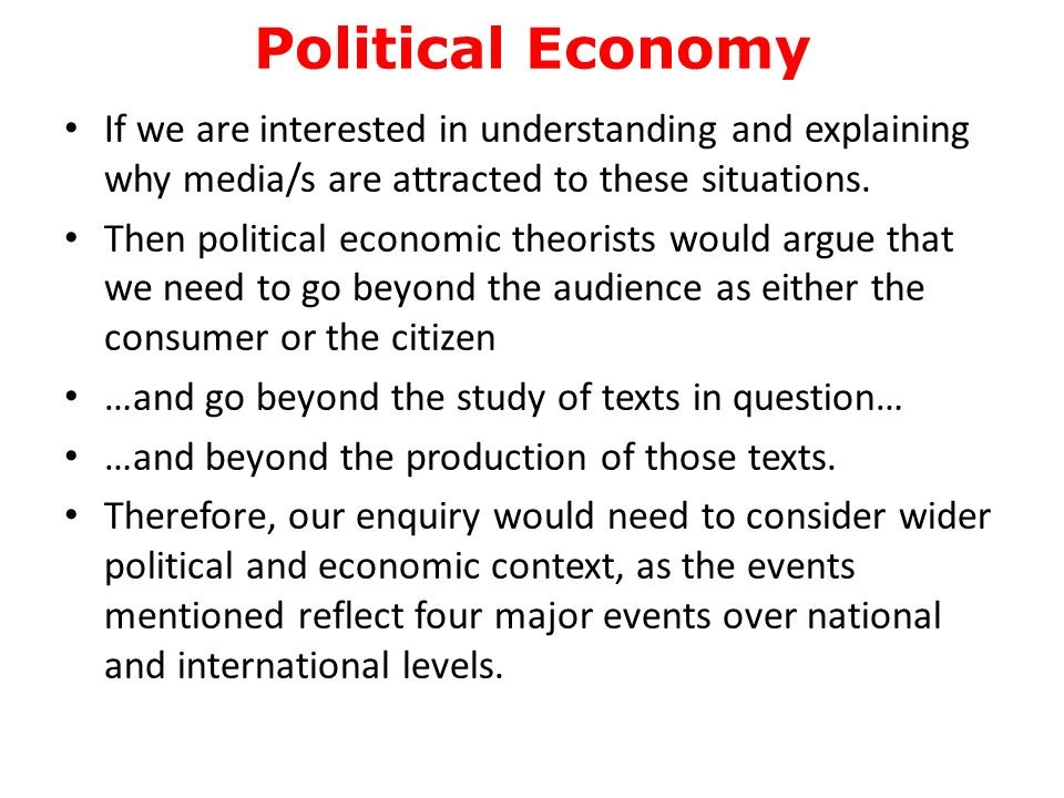 features of political economy