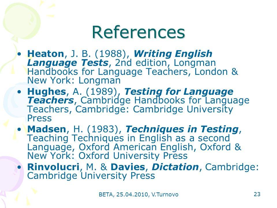 BETA, , V.Turnovo 23 References Heaton, J.