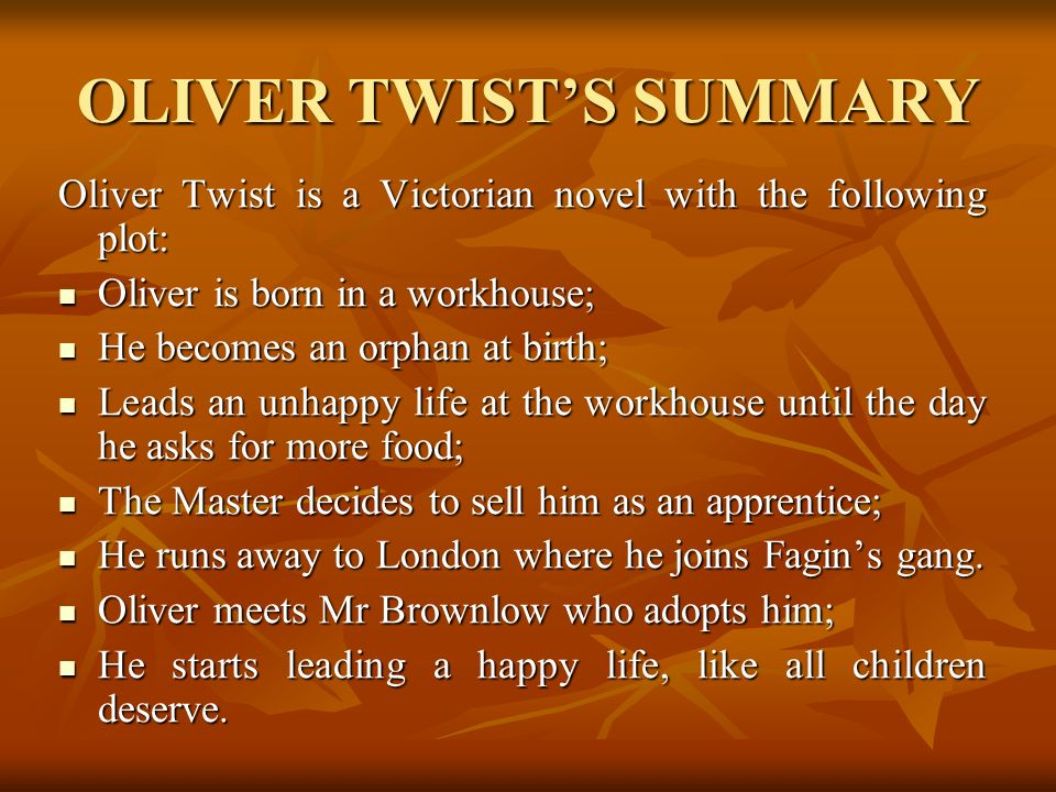 small summary of oliver twist