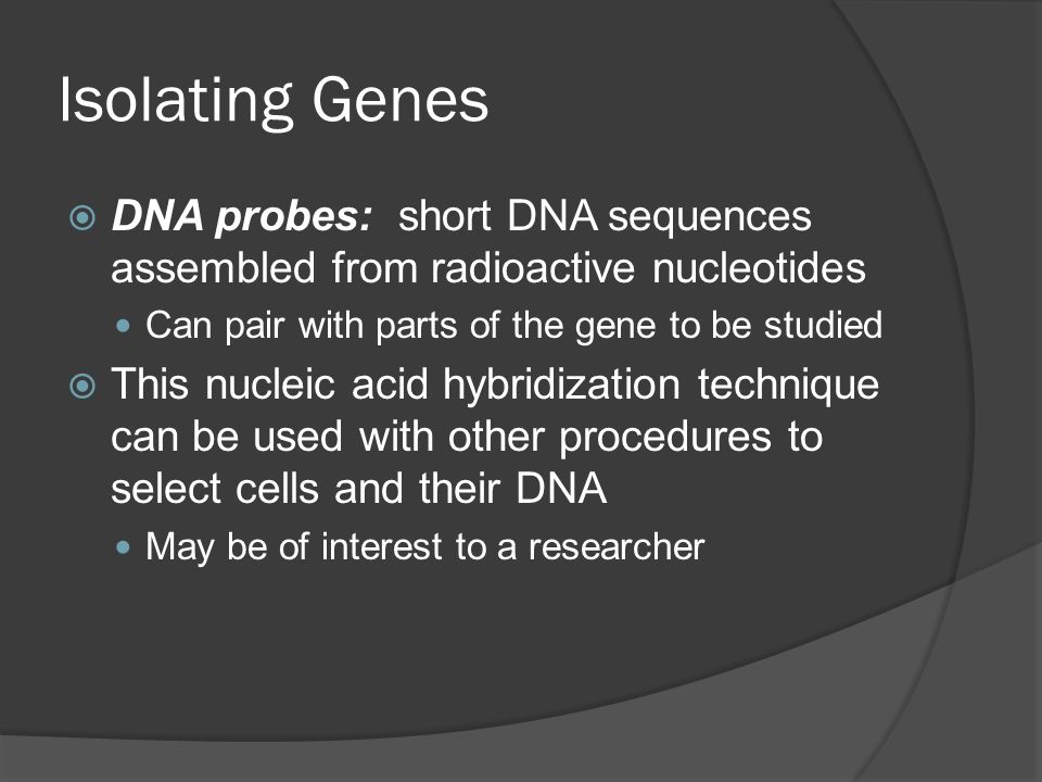 Isolating Genes  DNA probes: short DNA sequences assembled from radioactive nucleotides Can pair with parts of the gene to be studied  This nucleic acid hybridization technique can be used with other procedures to select cells and their DNA May be of interest to a researcher