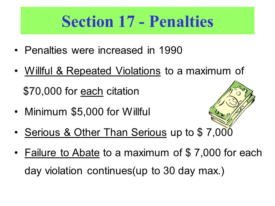 Section 17 - Penalties Penalties were increased in 1990 Willful & Repeated Violations to a maximum of $70,000 for each citation Minimum $5,000 for Willful Serious & Other Than Serious up to $ 7,000 Failure to Abate to a maximum of $ 7,000 for each day violation continues(up to 30 day max.)