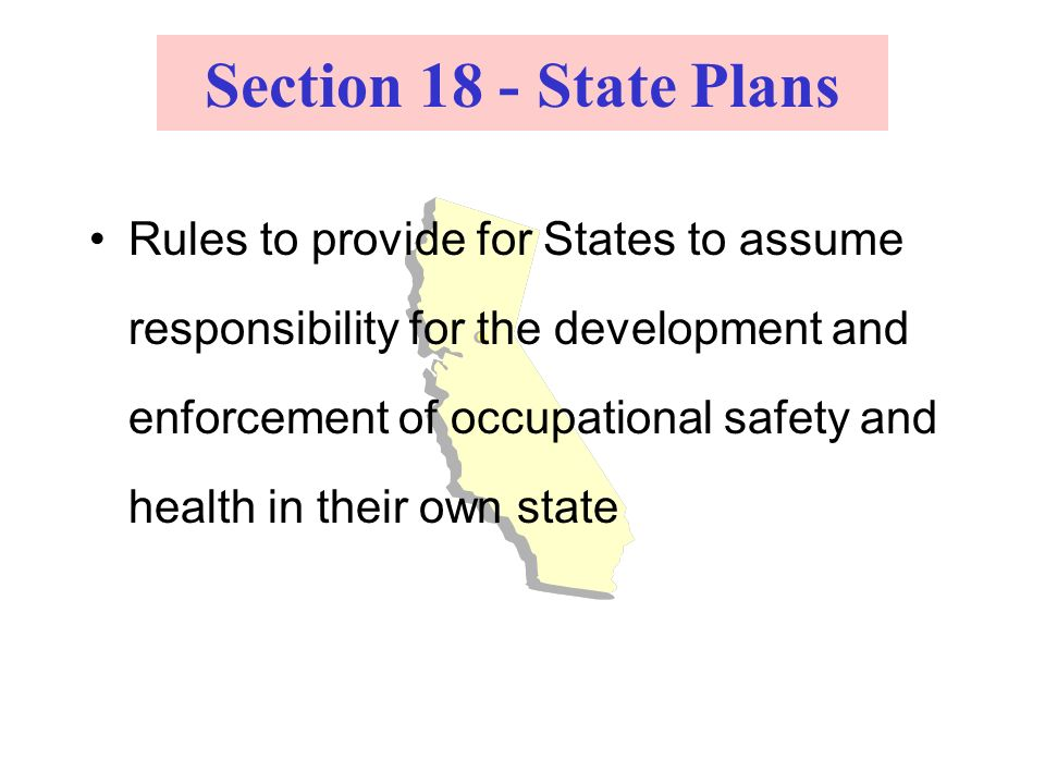 Section 18 - State Plans Rules to provide for States to assume responsibility for the development and enforcement of occupational safety and health in their own state