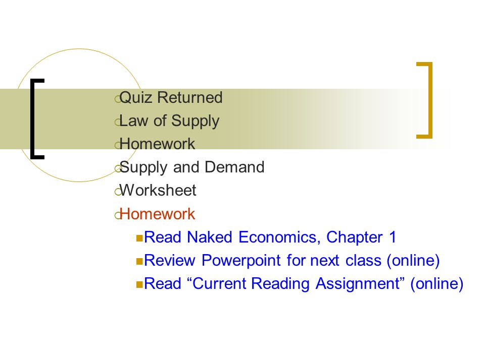 Quiz Returned Law Of Supply Homework Supply And