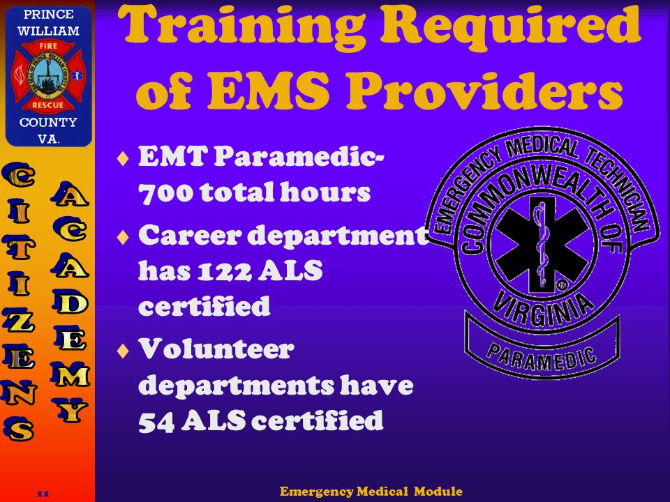 Emergency Medical Module 11 Training Required of EMS Providers  EMT Paramedic- 700 total hours  Career department has 122 ALS certified  Volunteer departments have 54 ALS certified