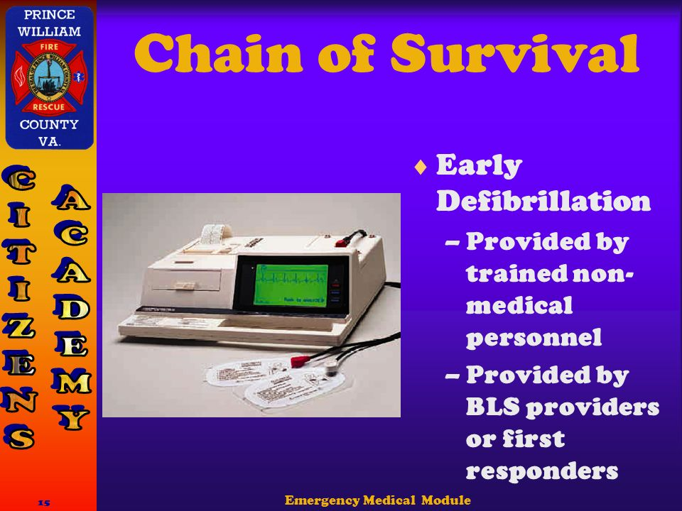 Emergency Medical Module 15 Chain of Survival  Early Defibrillation –Provided by trained non- medical personnel –Provided by BLS providers or first responders