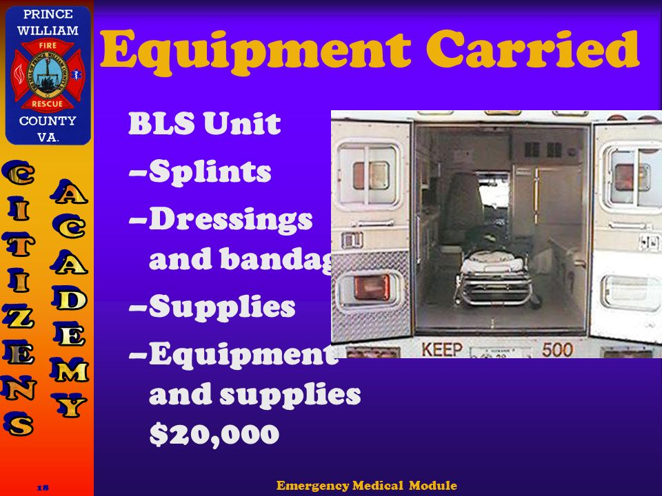 Emergency Medical Module 18 Equipment Carried BLS Unit –Splints –Dressings and bandages –Supplies –Equipment and supplies $20,000
