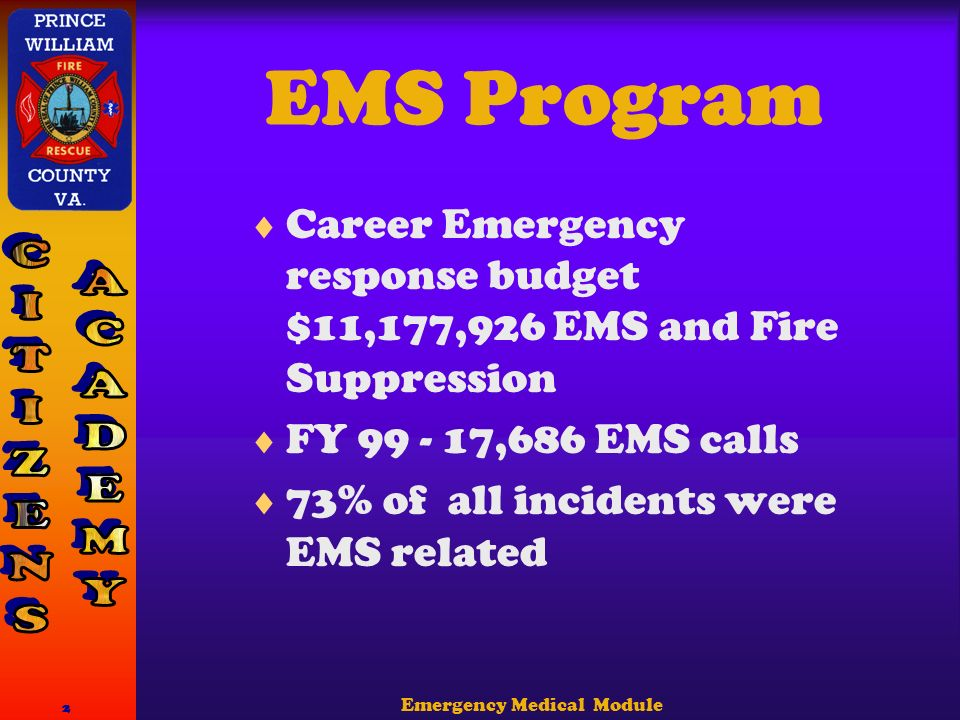 Emergency Medical Module 2 EMS Program  Career Emergency response budget $11,177,926 EMS and Fire Suppression  FY ,686 EMS calls  73% of all incidents were EMS related