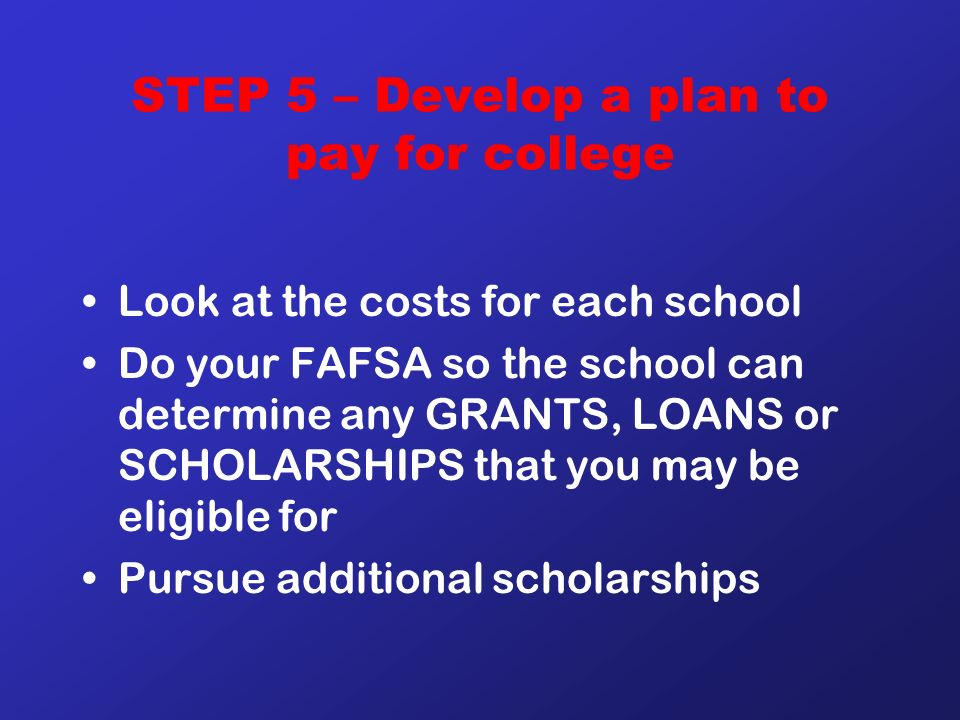 STEP 5 – Develop a plan to pay for college Look at the costs for each school Do your FAFSA so the school can determine any GRANTS, LOANS or SCHOLARSHIPS that you may be eligible for Pursue additional scholarships
