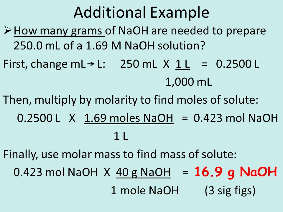 Additional Example  How many grams of NaOH are needed to prepare 250.0 mL of a 1.69 M NaOH solution.