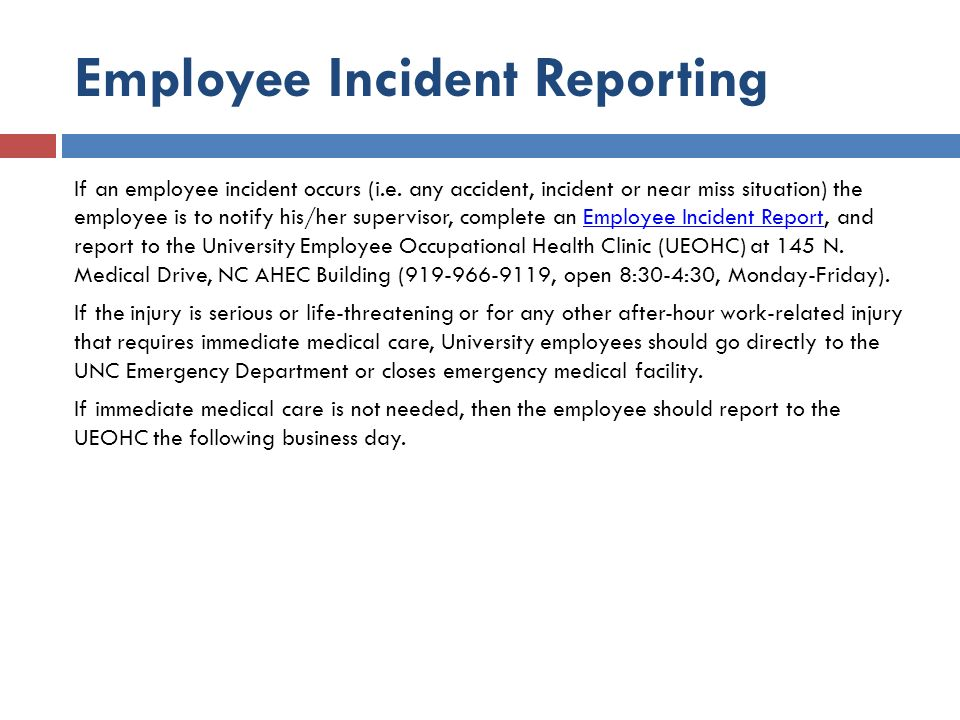 employee incident reporting if an employee incident occurs ie