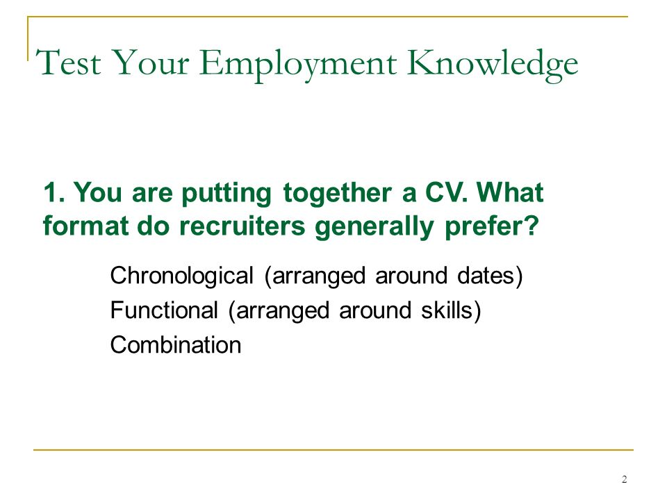 Eng 412 Professional English The Job Search 2 Chronological