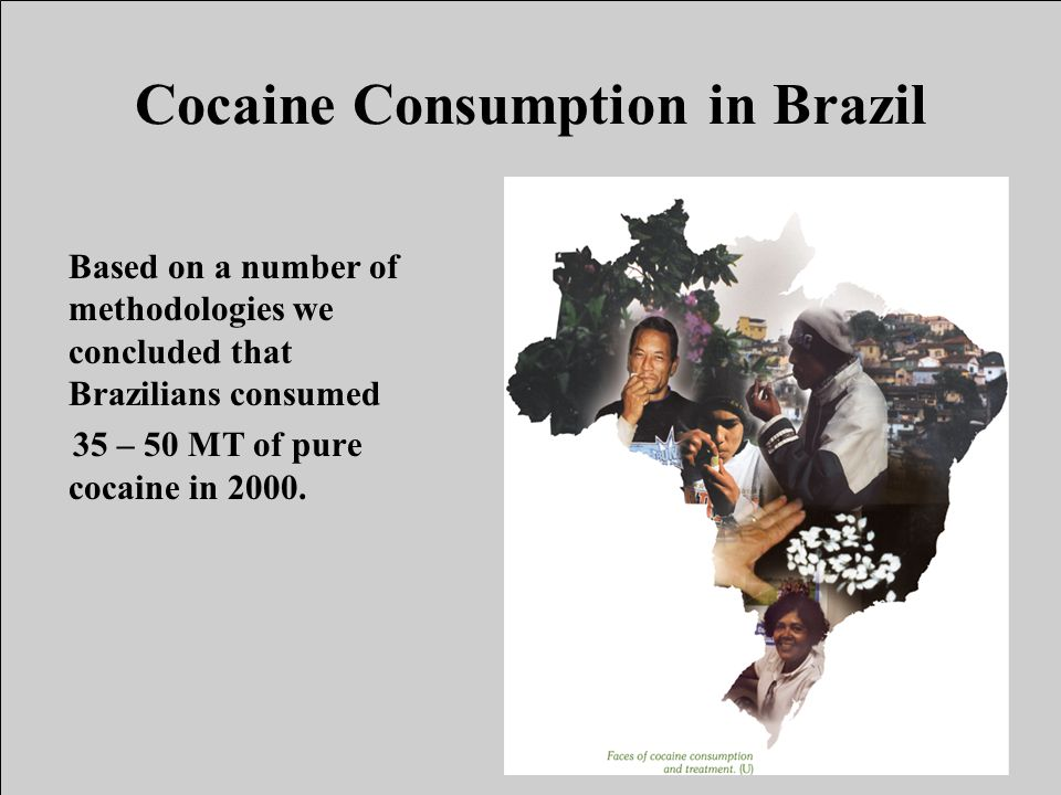 Cocaine Consumption in Brazil Based on a number of methodologies we concluded that Brazilians consumed 35 – 50 MT of pure cocaine in 2000.