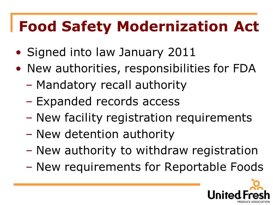 Food Safety Modernization Act The U S  Food Safety