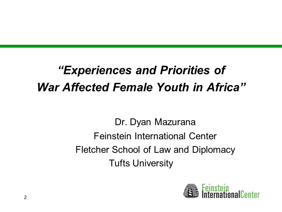 22 Experiences and Priorities of War Affected Female Youth in Africa Dr.