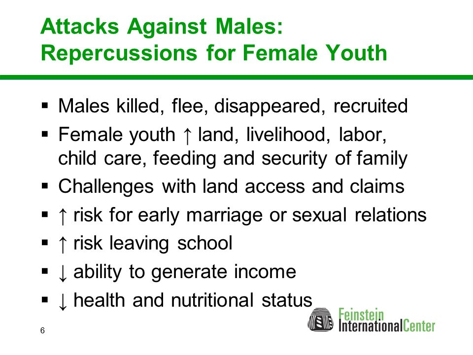 66 Attacks Against Males: Repercussions for Female Youth  Males killed, flee, disappeared, recruited  Female youth ↑ land, livelihood, labor, child care, feeding and security of family  Challenges with land access and claims  ↑ risk for early marriage or sexual relations  ↑ risk leaving school  ↓ ability to generate income  ↓ health and nutritional status
