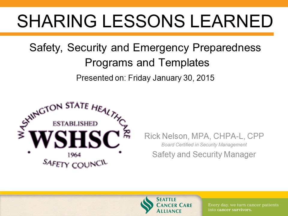 Safety, Security and Emergency Preparedness Programs and Templates ...