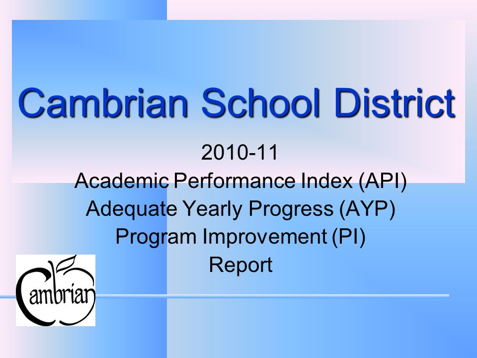 Cambrian School District Academic Performance Index (API) Adequate Yearly Progress (AYP) Program Improvement (PI) Report