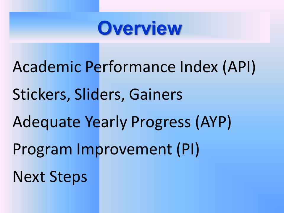 Overview Academic Performance Index (API) Stickers, Sliders, Gainers Adequate Yearly Progress (AYP) Program Improvement (PI) Next Steps