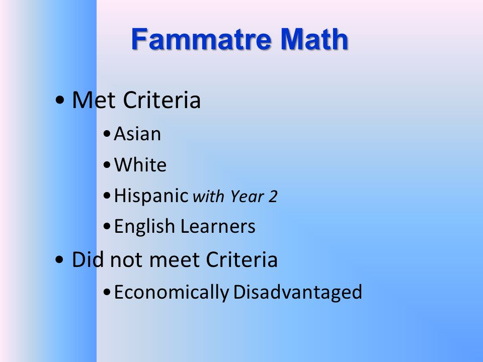 Fammatre Math Met Criteria Asian White Hispanic with Year 2 English Learners Did not meet Criteria Economically Disadvantaged