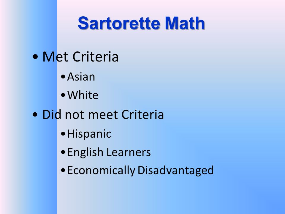 Sartorette Math Met Criteria Asian White Did not meet Criteria Hispanic English Learners Economically Disadvantaged