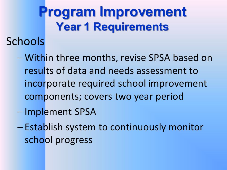 Program Improvement Year 1 Requirements Schools –Within three months, revise SPSA based on results of data and needs assessment to incorporate required school improvement components; covers two year period –Implement SPSA –Establish system to continuously monitor school progress