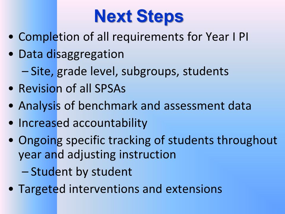 Next Steps Completion of all requirements for Year I PI Data disaggregation –Site, grade level, subgroups, students Revision of all SPSAs Analysis of benchmark and assessment data Increased accountability Ongoing specific tracking of students throughout year and adjusting instruction –Student by student Targeted interventions and extensions
