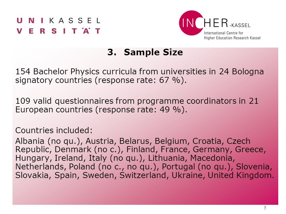 5 3.Sample Size 154 Bachelor Physics curricula from universities in 24 Bologna signatory countries (response rate: 67 %).