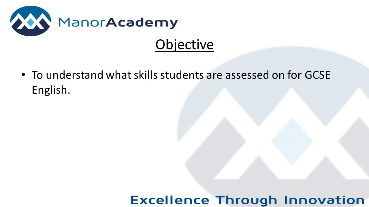 Objective To understand what skills students are assessed on for GCSE English.