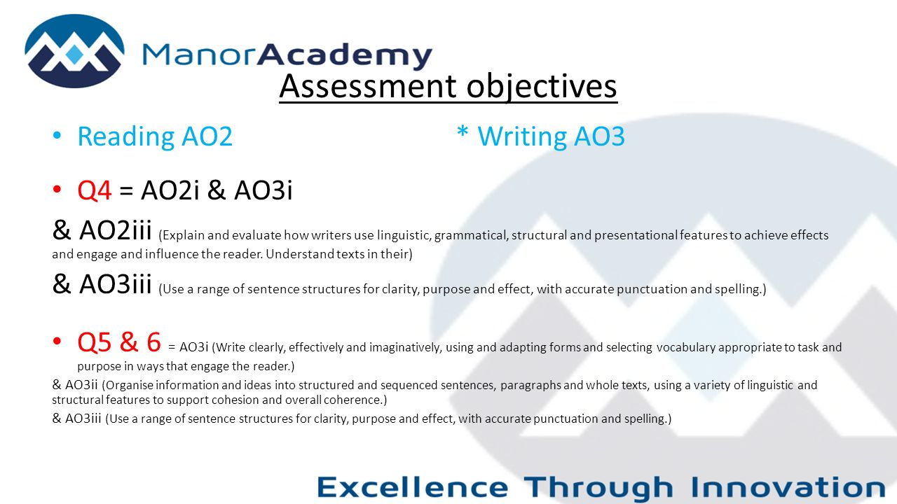 Assessment objectives Reading AO2* Writing AO3 Q4 = AO2i & AO3i & AO2iii (Explain and evaluate how writers use linguistic, grammatical, structural and presentational features to achieve effects and engage and influence the reader.