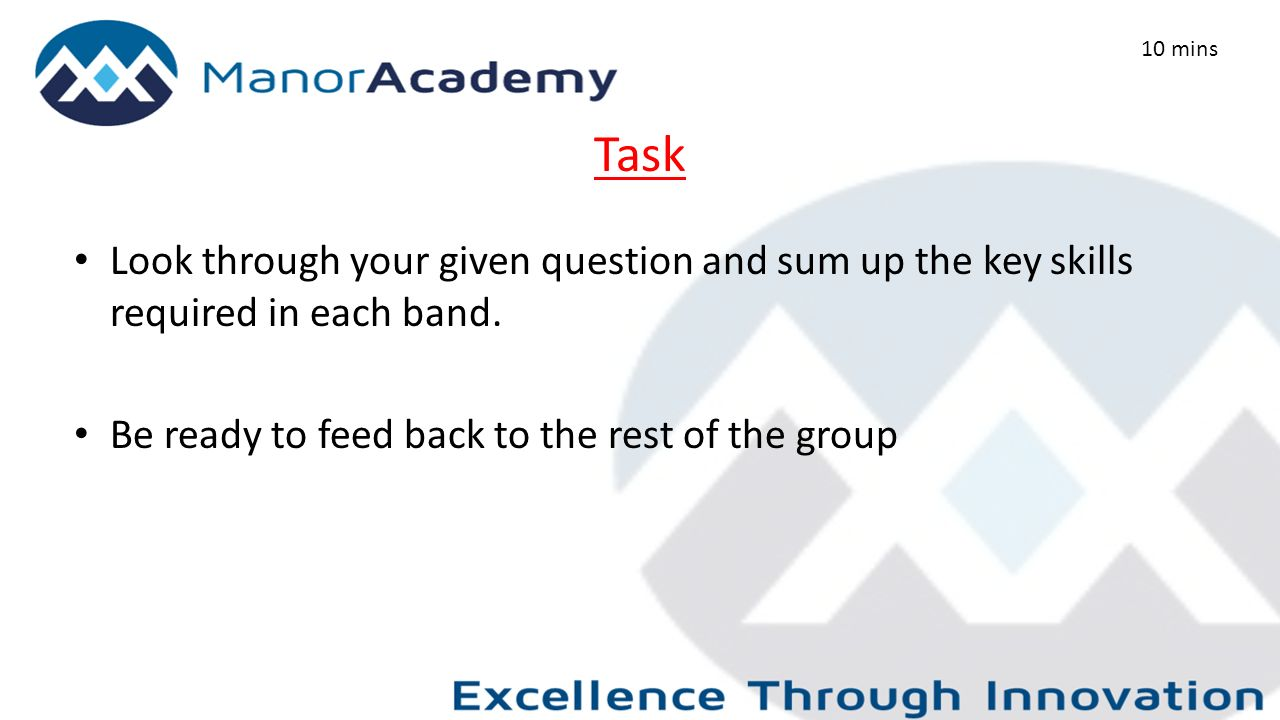 Task Look through your given question and sum up the key skills required in each band.