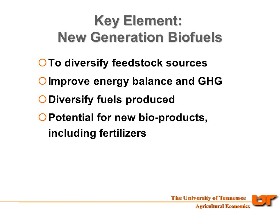Key Element: New Generation Biofuels  To diversify feedstock sources  Improve energy balance and GHG  Diversify fuels produced  Potential for new bio-products, including fertilizers