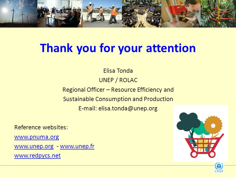 Thank you for your attention Elisa Tonda UNEP / ROLAC Regional Officer – Resource Efficiency and Sustainable Consumption and Production   Reference websites: